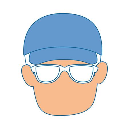 Avatar man wearing a cap icon over white background vector illustration Ilustração