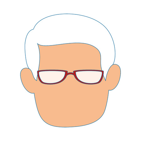 avatar man with glasses icon over white background vector illustration