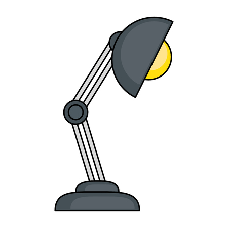 desk lamp icon over white background vector illustration