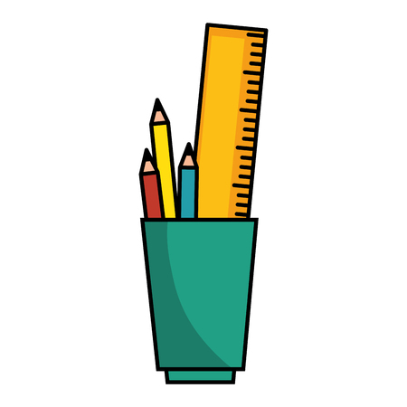 secretarial: cup with pencils and utensils icon over white background vector illustration