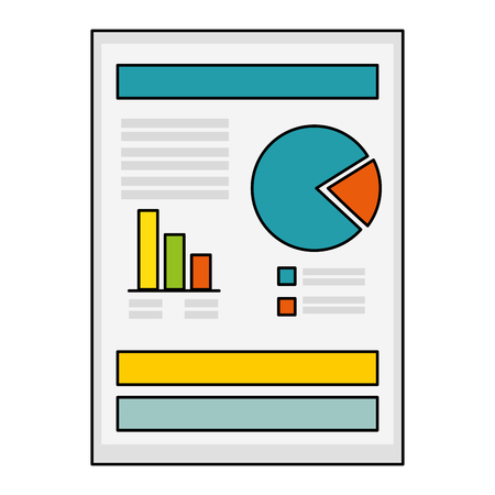 demographics: document with Statistical graphs icon over white background vector illustration