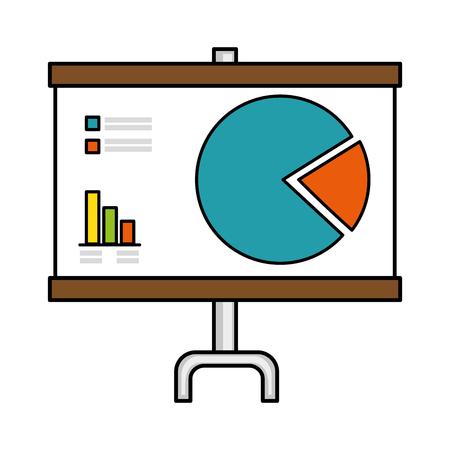 白い背景ベクトルの上に統計グラフアイコンを持つプレゼンテーションボード  イラスト・ベクター素材