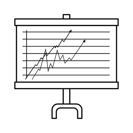 Presentation board with statistical graphs icon over white background vector illustration Stock fotó - 82072794