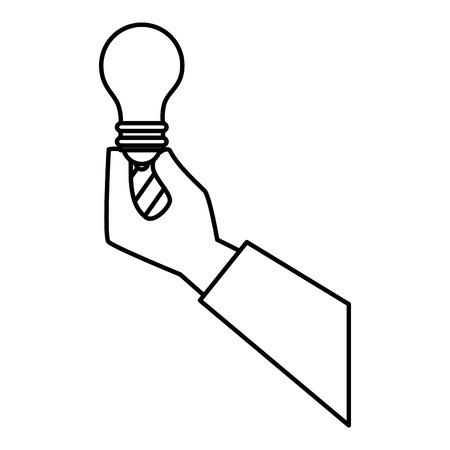 hand met een gloeilamp pictogram over witte achtergrond vectorillustratie Stock Illustratie