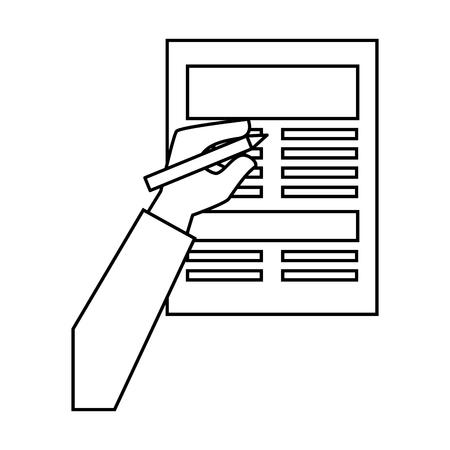 白い背景のベクトル図を手とドキュメントのページ アイコン