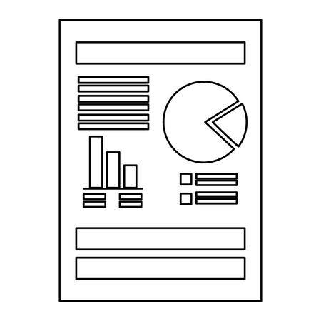 白背景ベクトル イラスト上の統計グラフ アイコンをドキュメント