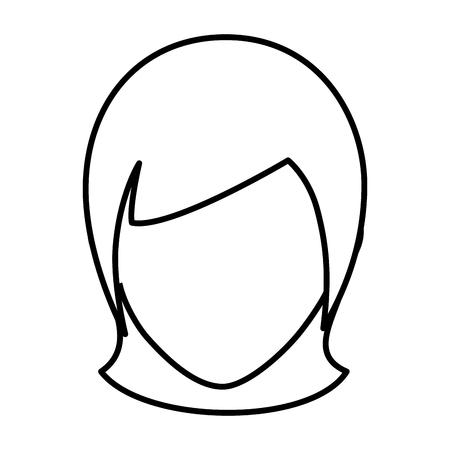 흰색 배경 벡터 일러스트 레이 션을 통해 여자 얼굴 아이콘