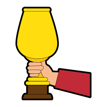 hand holding a trophy cup icon over white background vector illustration