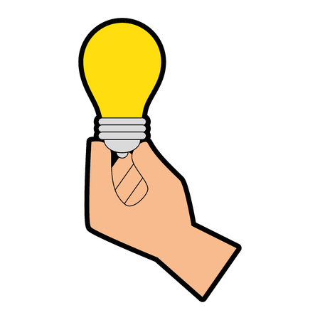hand holding a light bulb icon over white background vector illustration