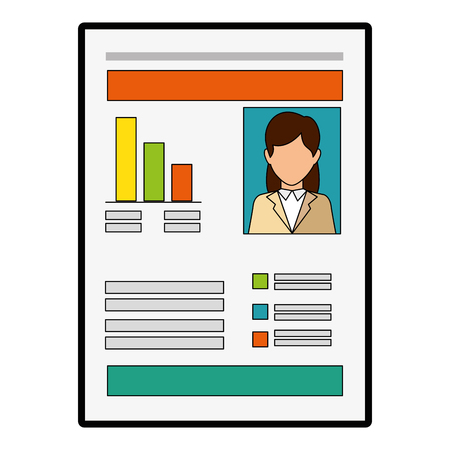 document with Statistical graphs icon over white background vector illustration