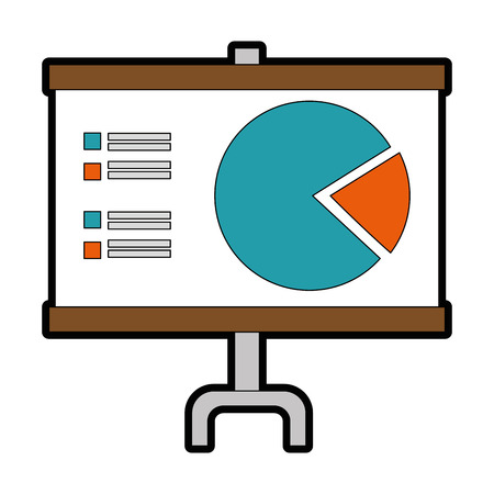 Presentation board with statistical graphs icon over white background vector illustration