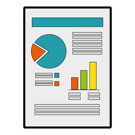 document with Statistical graphs icon over white background vector illustration Stock fotó - 82068859