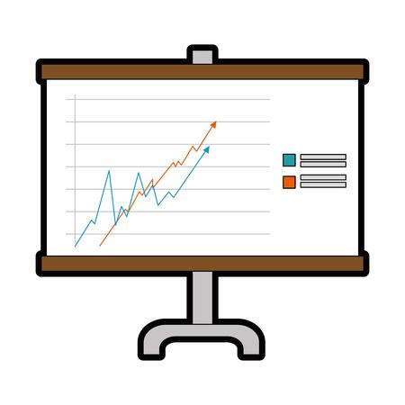 統計グラフ アイコン白背景ベクトル イラスト上でプレゼンテーション ボード