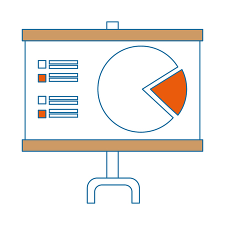 Presentation board with statistical graphs icon over white background vector illustration Stock fotó - 82071146