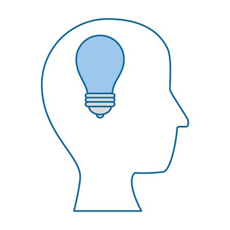 head with light bulb icon over white background vector illustration Stock fotó - 82068820