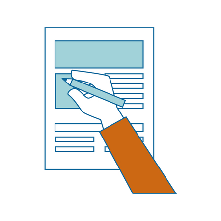 hand and document page icon over white background vector illustration