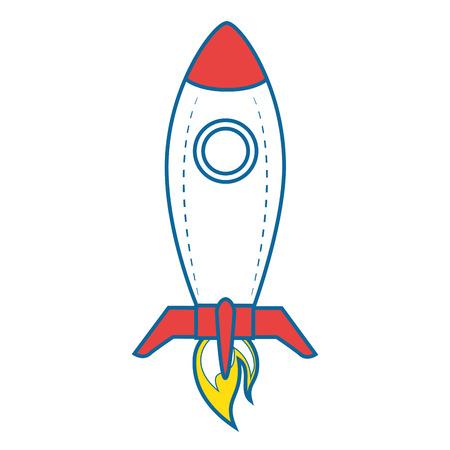 ruimteraket pictogram over witte achtergrond vectorillustratie Stock Illustratie