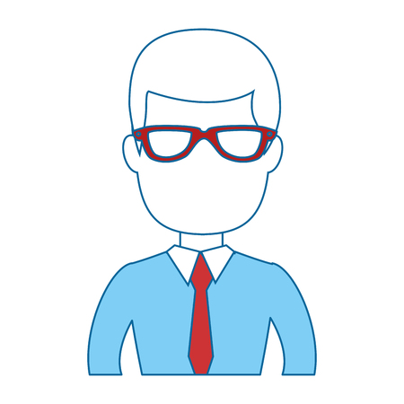 zakenman pictogram op witte achtergrond kleurrijke ontwerp vector illustratie Stock Illustratie