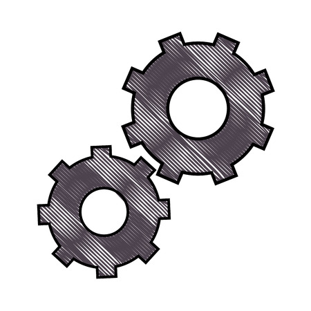 gear wheels icon over white background vector illustration