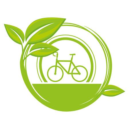 embleem met fiets en bladeren pictogram over witte achtergrond vector illustratie