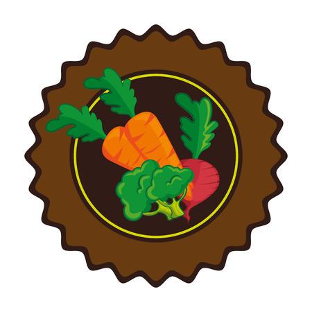 白い背景のベクトル図に野菜アイコンにスタンプをシールします。  イラスト・ベクター素材