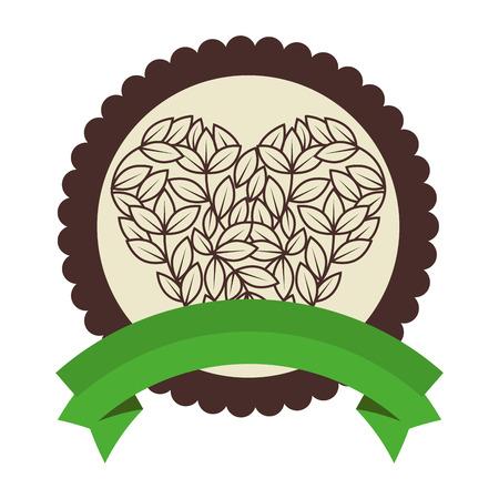 白い背景のベクトル図にハート形のアイコンで葉とスタンプをシールします。