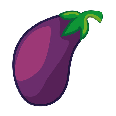 eggplant vegetable icon over white background colorful design vector illustration