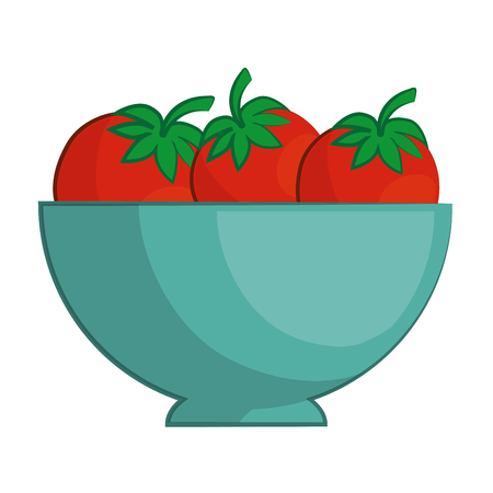bowl with tomatoes icon over white background colorful design vector illustration