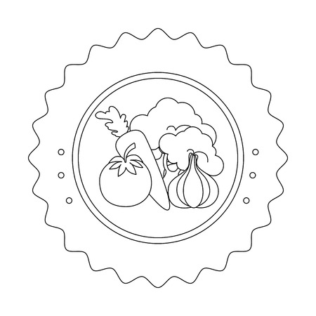 seal stamp with vegetables icon over white background vector illustration