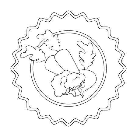 zegel stempel met groenten pictogram over witte achtergrond vectorillustratie Stock Illustratie