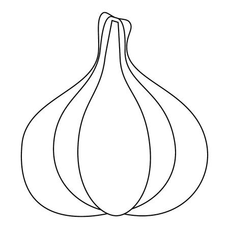 knoflook hoofd pictogram over witte achtergrond vectorillustratie Stock Illustratie