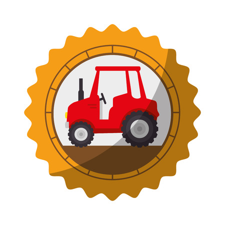 seal stamp with farm tractor icon over white background vector illustration Çizim