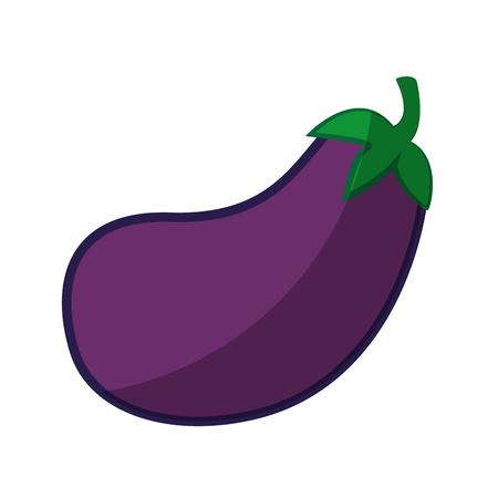 白い背景のベクトル図にナス野菜アイコン