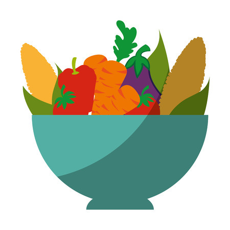 bowl with healthy vegetables icon over white background vector illustration