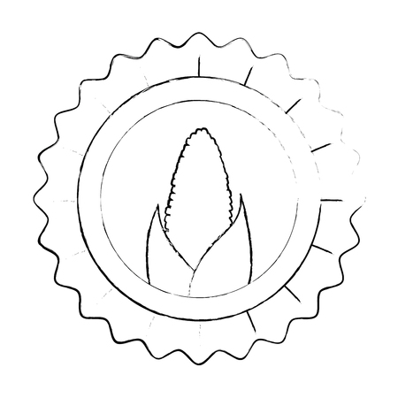 seal stamp with corn icon over white background vector illustration