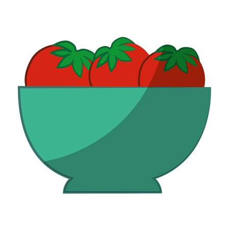 bowl with tomatoes icon over white background vector illustration