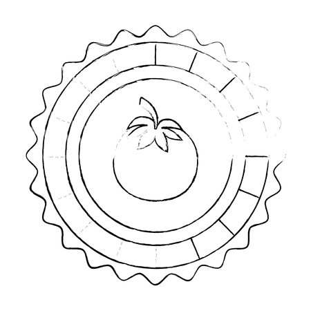 seal stamp with tomato icon over white background vector illustration
