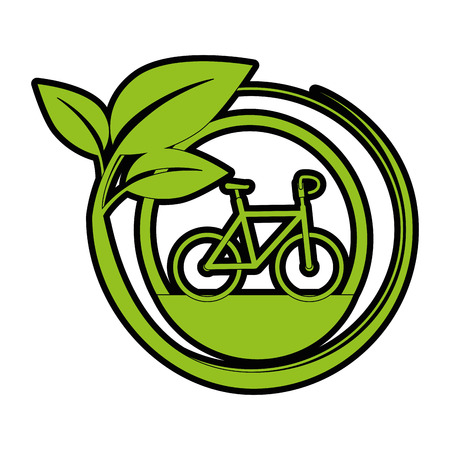 emblem with bicycle and leaves icon over white background vector illustration