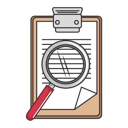 report table and magnifying glass icon over white background vector illustration