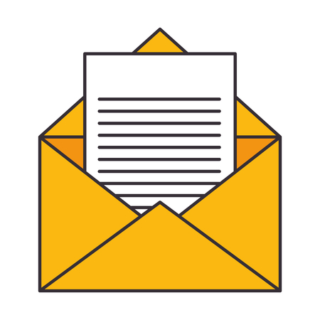 envelope and letter page icon over white background vector illustration Ilustração