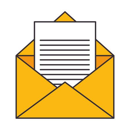 icono de página sobre y carta sobre ilustración de vector de fondo blanco