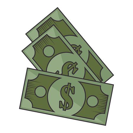 흰색 배경 위에 돈 지폐 아이콘 화려한 디자인 벡터 일러스트 레이 션 일러스트
