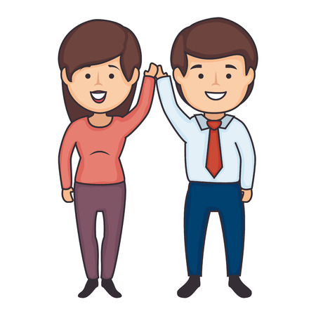 businessman and woman icon over white background colorful design vector illustration