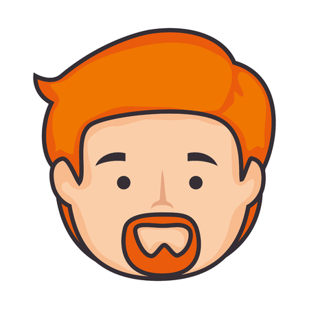 desing: cartoon man with beard icon over white background colorful desing vector illustration
