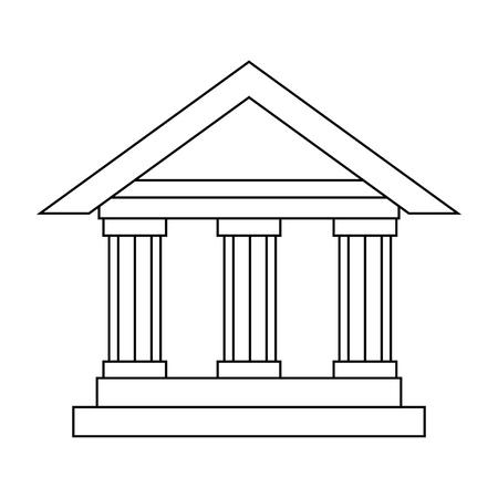 흰색 배경 벡터 일러스트 레이 션을 통해 은행 건물 아이콘 일러스트