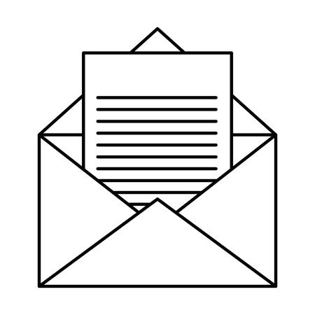 白い背景のベクトル図に封筒と手紙のページ アイコン