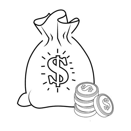 돈 자루와 흰색 배경 벡터 일러스트 레이 션 위에 동전 아이콘