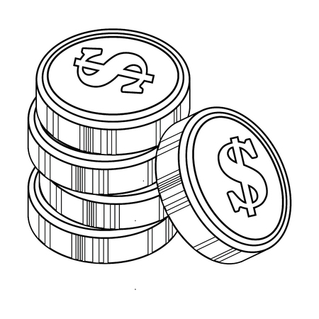 money coins icon over white background vector illustration 向量圖像