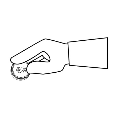 Hand met geld munt pictogram over witte achtergrond vectorillustratie Stockfoto - 82080312