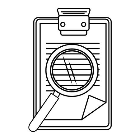 rapport tabel en vergrootglas pictogram over witte achtergrond vectorillustratie Stockfoto